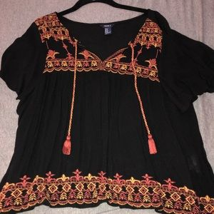 Black embroidered short sleeve flowy top